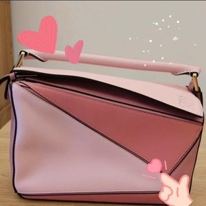SOLD $1299 Loewe Small Pink Calfskin Puzzle Bag